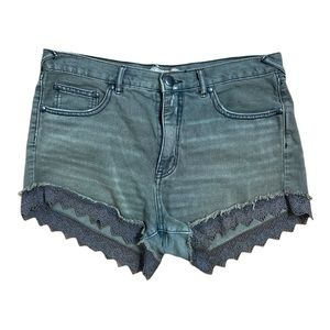 Free People Dark Gray with Lace Cuffs Shorts